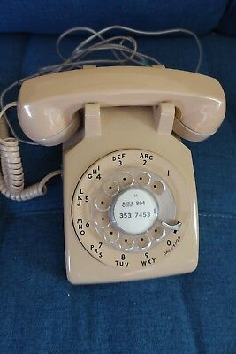 Vintage Rotary Phone Retro Beige Smooth Dial Bell Desk Telephone