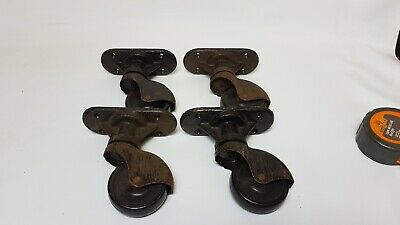 Vintage/Antique Vono Black Cast Iron Furniture Castors Casters Wheels