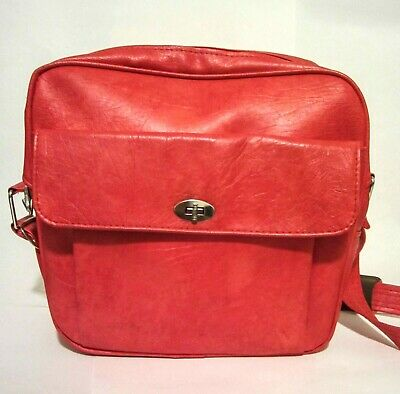 Vintage Samsonite Retro MCM Red Chrome Vinyl  Overnight Bag Luggage Laptop