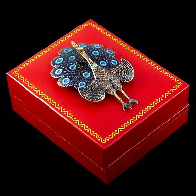 Antique Vintage Art Deco Sterling 925 Silver Gold SIAM Niello Enamel Pin Brooch