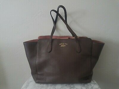 54c0c046647c Excellent Pre-owned GUCCI Swing Tote Bag Leather Grey Brown & Pink