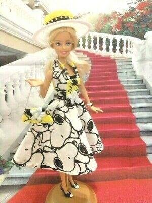 Vintage Barbie Silkstone Articulated Doll Fashion Clothes Outfit Dress Snoopy