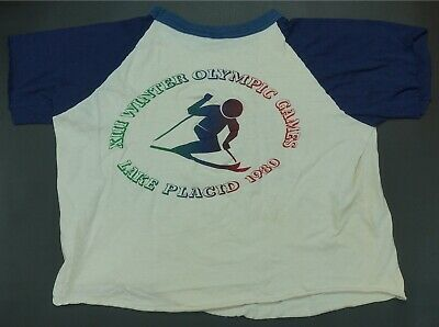 Rare Vintage XIII Olympic Winter Games Lake Placid 1980 Crop Top T Shirt 80s L