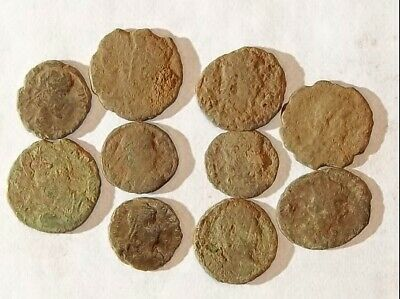 10 ANCIENT ROMAN COINS AE3 - Uncleaned and As Found! - Unique Lot 11837