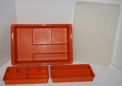 Orange Tupperware Tuppercraft Craft Sewing Organizer Stow-N-Go Container EUC