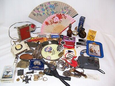 vtg junk drawer lot antique watches lighter jewelry silver beer camera coin card
