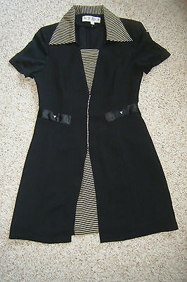CHINESE? Label Women's Sheer Black Dress Gold Stripes JEWELED sz large
