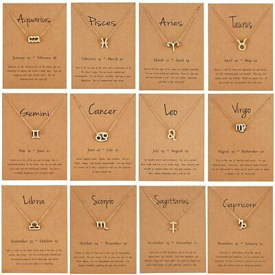 12 Constellation Pendant Necklace Zodiac Birthday Gift Wish Card For Women Girl