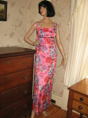 244a82fb130a Lovely 1960 Bold Pink Purple Floral Organza Empire Waist Gown/Maxi Dress