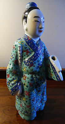 Quan Yin Statue Asian Art Antique Enamel Porcelain Chinese Fu Lu Shou Figurine