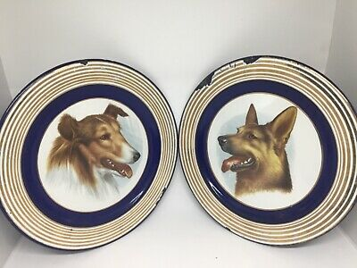 Antique pair of plates german dogs made in german