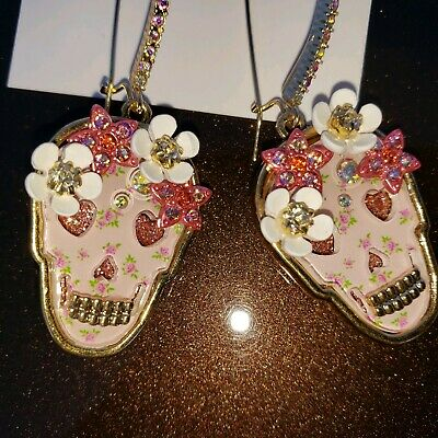 Fashion Jewelry Jewelry & Watches Sporting Pink Blue Hearts Dangle Pierced Gold Crystal Alloy Earrings Betsey Johnson