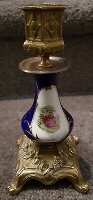 European Antique Brass Ceramic Style Candlestick - Great Condition