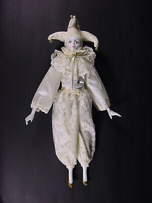 """Vintage Porcelain Court Jester Doll Hand Painted Face 18-1/2"""" Tall Clown"""
