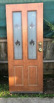 Wooden Door with Rose Pattern Glass Panels