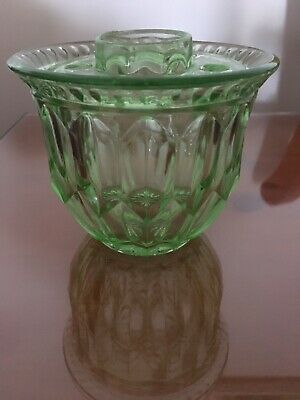 Beautiful Small Green Depression Glass Rose Bowl.