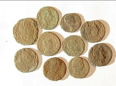 10 ANCIENT ROMAN COINS AE3 - Uncleaned and As Found! - Unique Lot 11839