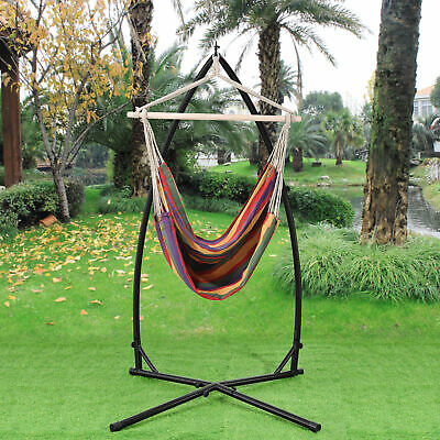 [casa.pro]® Hammock Hanging Chair with Stand Camping Garden Multicolour Striped