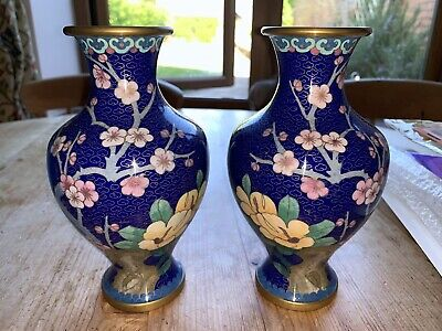 Large Pair Of Antique Chinese Cloisonne Matching Blue Vases Birds Flowers