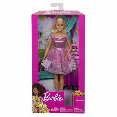 Barbie Happy Birthday Doll + Accessory *Silvery Gift Present *Pink Dress