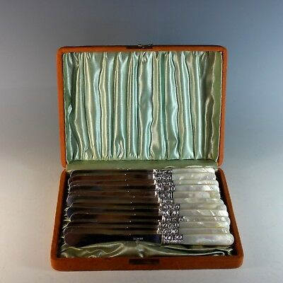 Antique Mother of Pearl Collection of 12 Pearl Handled Knives Boxed