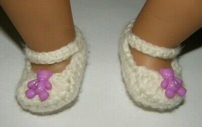 Cream/Mauve bear Mary Jane booties/shoes/slippers: Dolls Clothes for Baby Born