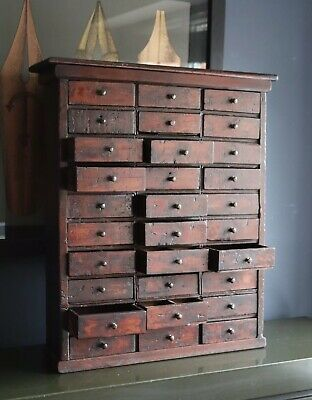 Antique 19th Century Apothecary Or Watchmakers Bank Of 30 Drawers aged patina