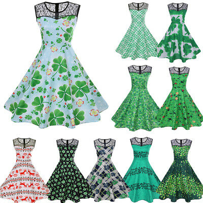 Womens Dress Vintage 50s Rockabilly Pinup Hepburn Green Retro Swing Party Gown