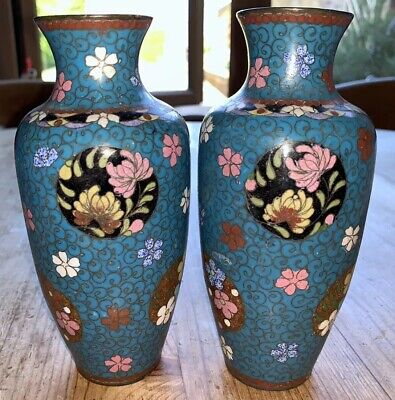 Medium Pair Of Antique Chinese Cloisonne Matching Turquoise Blue Vases Flowers