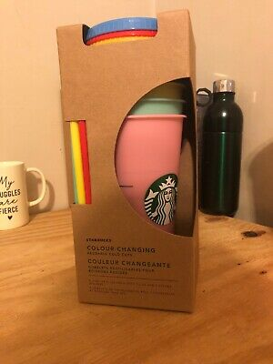New Starbucks 2019 Color-Changing Reusable Cold Cups Set Of 5 Limited