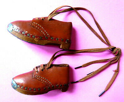 Antique Pair Of Miniature Clog Shoes,Leather.metal & Wooden Soles.