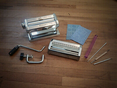 Atlas Pasta Machine for Polymer Clay crafting use + Roller + Stamps + Tools