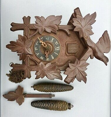 Black Forest  Cuckoo Clock Carved Made In Germany D.R.G.N Loft Find