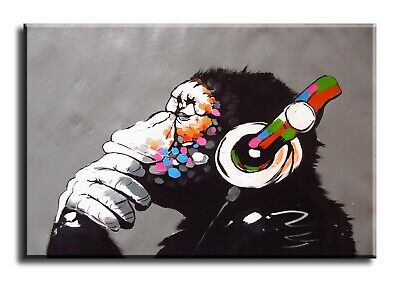 Wall Art Canvas Picture Print of Banksy DJ Monkey Framed
