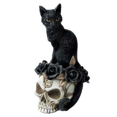 ALCHEMY BLACK CAT GRIMALKIN'S GHOST Skull Roses Gothic Ornament Statue Witch