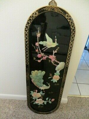 VTG Black Lacquer Chinese Oriental Asian Wall Plaque Picture Art Mother of Pearl