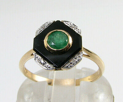 9K 9Ct Gold Colombian Emerald Onyx Diamond Art Deco Ins Ring Free Resize