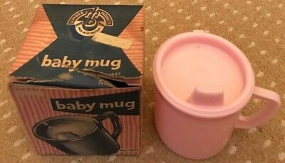 Sippy Cup Baby Mug Pink Vintage Collectible 1970's by Embee Unused Boxed in VGC
