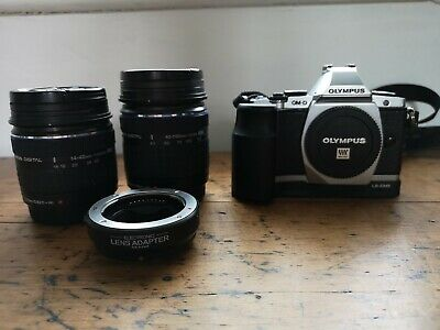Olympus OM-D E-M5 16.1MP Digital SLR Camera - Silver with lenses and extras