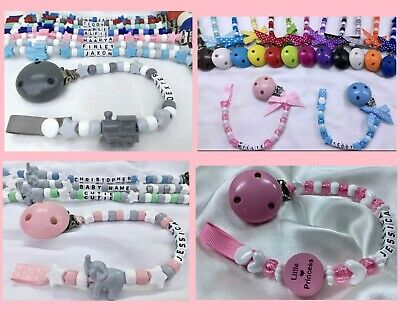 🎀 DUMMY CLIP 🐘Personalised 10 or 12 Letters🚂 DESIGN Choices 🐘 Many Colours🎀