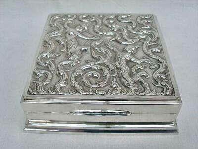 Superb Vintage Sterling Silver Eastern Thai Repousse Decorated Table Box.