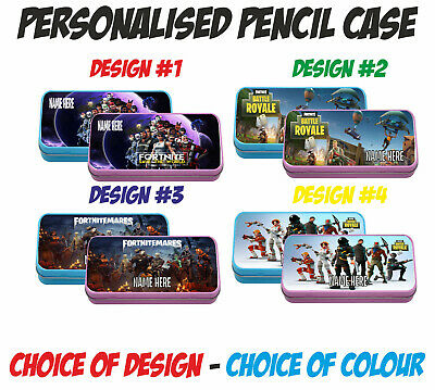 FORTNITE PERSONALISED PENCIL CASE / TIN - Blue or Pink