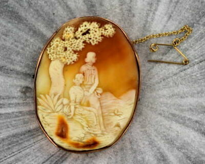 Antique Hand Carved Cameo in 9ct. Gold  Pin or Brooch