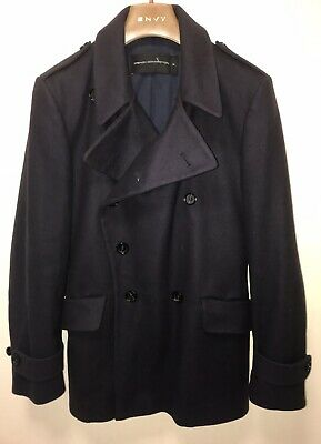 French Connection Wool & Cashmere Double Breasted Pea Coat. Medium. Navy. Super!