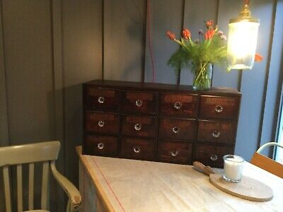 antique apothecary drawers- bank of 12