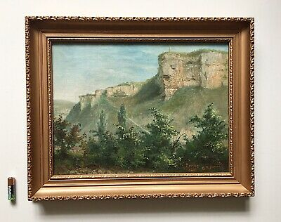 Antique French Impressionist Landscape Oil Painting Gilt Wood Frame Signed