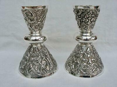 Superb Pair Vintage Sterling Silver Eastern Thai Repousse Decorated Candlesticks