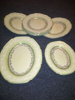 Crown Ducal Florentine Art Deco Ironstone Cream & Green Dinner Plates & Platters