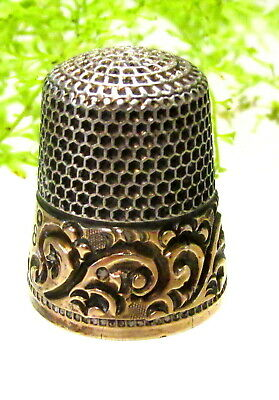 LOVELY ANTIQUE KETCHUM & McDOUGALL STERLING & GOLD THIMBLE SCROLL DESIGN