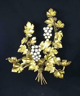 Hollywood Regency Gilt Tole Metal Gold Leaf 2 Candle Silver Grapes Wall Sconce